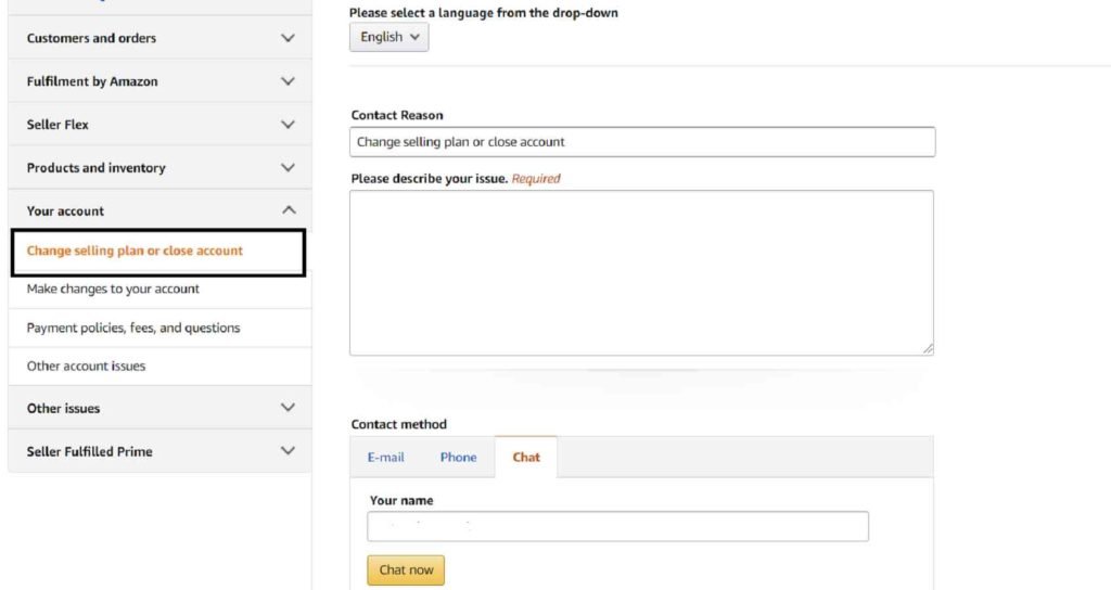 Step 4 how to delete seller account on amazon