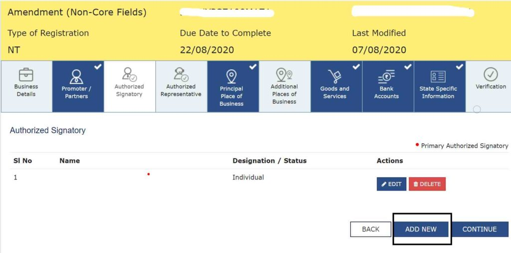 how to change authorised signatory in gst portal
